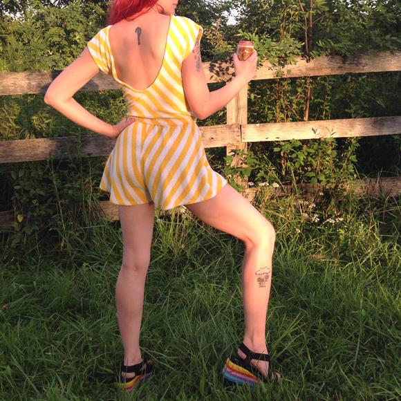 Vintage Pants - Vtg 1970s Clovis Ruffin Romper Designer Playsuit S